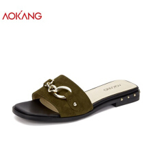 AOKANG 2018 Summer women shoes flat heels outdoor slippers women casual comfortable shoes woman green