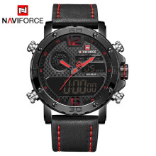 NAVIFORCE Men Watch Digital Sport Mens Watches Top Brand Luxury Military Leather Band Quartz Male Clock