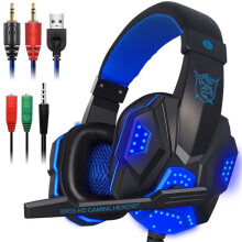 Vinmori Deep Bass Gaming Headphone Over-Ear Gamer Headset Headband with MIC Stereo Earphone with Light for Computer PC Gamer