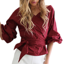 SESIBI Charms Women Off Shoulder V Neck Shirts Puff Sleeve Cross Slim Blouse Solid Tops -