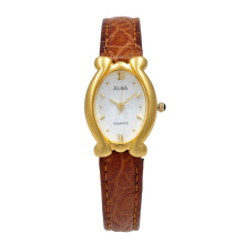 ALBA Jam Tangan Wanita - Brown Gold White - Leather Strap - ATCY12