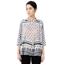 STUDIO 133 - BIYAN Satin Blouse With Raglan Sleeves Plaid Songket Blue