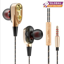 DELIVE high quality Hifi earphone Double Unit Stick In Ear Earphone Bass Subwoofer for phone DJ mp3 Sports Game
