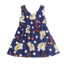 Summer Kids Girls Outfits Sleeveless Dress Flower Print Princess Dress 140