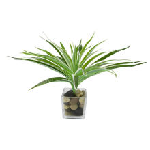 Farfi Artificial Plastic Green Long Leaves Bracketplant Grass Plant Home Bonsai Decor as the pictures