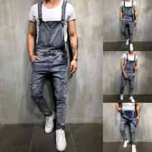 Men's Overall Casual Jumpsuit Jeans Wash Broken Pocket Trousers Suspender Pants_XL