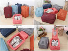 Travelmate - Monopoly Shoes Pouch Travel / Tas Sendal Sepatu / Shoes Bag Organizer - Biru-Mono