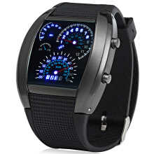 Rubber Band LED Car Watch / Table with Blue Light Display Time Arch Shaped Black