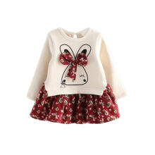 Farfi Autumn Winter Kids Girls Rabbit Bowknot Flower Printed Long Sleeve Dress