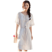 INMAN 1882102459 Dress Show Thin Women Printing Round Collar Summer Dress