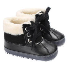 Farfi Faux Leather Plush Baby Boy Sole Warm Winter Boots Crib Prewalker Shoes