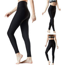 Women Workout Out Pocket Leggings Fitness Sports Running Yoga Athletic Pants_Black_L