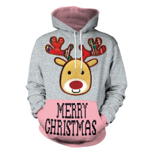 Anamode 3D Printed Elk Christmas Sweatshirt Warm Hooded Casual Jumper Shirt -