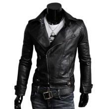 Farfi Retro Punk Men's Slim Fit Zipper Long Sleeve Lapel Faux Leather Jacket Coat
