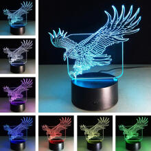 Farfi Eagle 3D LED Light Optical Illusion Visual Light Touch Switch 7 Colors Home Decor as the pictures