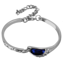 Women Fashion Silver/Golden Bracelet With Pink/Blue Crystal Bracelet silver & deep blue