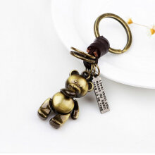Creative Mini Bear Shape Keychain With Hand Weave Leather Keychains For Men Bronze
