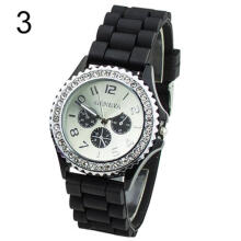 Farfi Men Women Jewelry Geneva Silicone Analog Quartz Wrist Watch