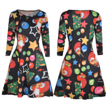 Maodapa Womens Xmas Christmas Santa Skater Ladies Snowman Swing Dress