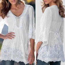 Farfi Women Sexy Hollow Middle Sleeve Lace Floral Flower Summer Tops T-shirt White L