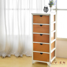 Meja Sudut Nakas 5 Laci Cubic Series - Side Table Brown - Drawer - LIVIEN FURNITURE