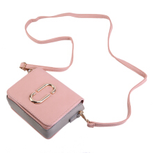 [LESHP]Fashion Flap Women Lady Handbag with Metal Decoration Shoulder Bag Pink