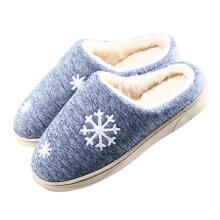 Farfi Fashion Winter Women Men Snowflake Warm Anti-Slip Indoor Shoes Home Slippers