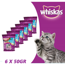 Whiskas? Dry Junior Ocean Fish Flavour with Milk 6 x 50grm