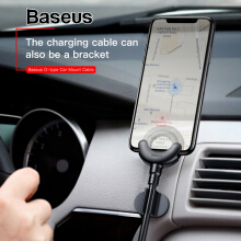 Baseus Car Phone Holder for iPhone X 8 7 6 360 Degree GPS Mobile Phone Stand Car Mount USB Cable For iPhone Charging Bracket
