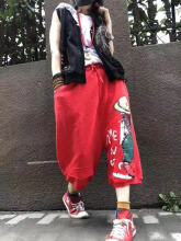 Casual Cartoon Print Drawstring Waist Loose Pants White One Size
