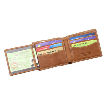 BestieLady Genuine Leather Left Flip-out Bi-fold Wallet Brown