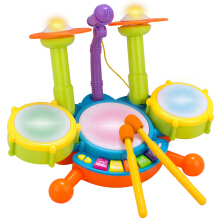 Jantens Kids Toys Musical Drum Set Baby Jazz Drum Kit Electronic Percussion Musical Photo Color