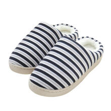 Farfi Fashion Winter Women Men Striped Warm Soft Anti-Slip Indoor Shoes Home Slippers