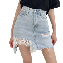 Jantens Korean casual denim skirt women new summer high waist hole tassel stitching lace mini skirt