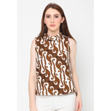 FBW Ballina Sleeveless High Neck Batik Parang Top - Putih