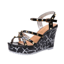 BESSKY Summer Lady Fashion Wedge High Heels Sandals Elegant Rivets Women Heels Shoes _