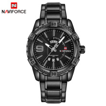 NAVIFORCE Fashion Casual Brand Waterproof Quartz Watch Men Military Stainless Steel Sports Watches Man Clock Black