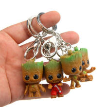 Farfi 4Pcs Guardians of Galaxy Tree Man Groot Figure Pendant Key Ring Holder Keychain as the pictures