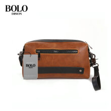 DISONBOLO Large Capacity PU Leather Man Wallet Card Holder Purse Clutch Zipper Handbag Brown