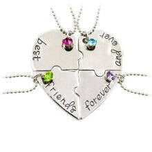 Farfi 4Pcs/Set Best Friend BFF Friendship Puzzle Rhinestone Heart Matching Necklace as the pictures