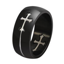 Farfi Cool Detachable Cross Men Women Titanium Steel Wide Band Ring Finger Jewelry