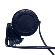 Jantens Round ladies tassel bag woven crossbody bag shoulder bag cute knit round crossbody bag Navy Blue