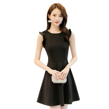 SiYing Korean version of the sleeveless A-line skirt solid color stitching dress