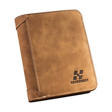 [LESHP]Vintage Three Fold Ultra-thin Frosted Short Wallet Men Coin Card Holder Purse Coffee