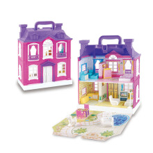 Jantens DIY Small Doll House Realistic 3D Plastic Doll Houses Assemble Dollhouse Two-Storey Villa Model Toy for Photo Color