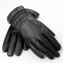 SiYing Simple Touch screen PU leather gloves warm lace side gloves Black