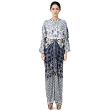 STUDIO 133 - BIYAN Satin Draped-Waist Kaftan Flower Damask