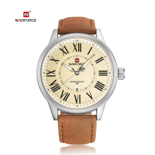 NAVIFORCE 9126 Luxury Brand Men Watches Leather Quartz Watch Waterproof Date Clock Brown-Putih