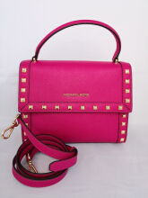 Michael Kors Dillon Stud Medium TH Messenger Saffiano Leather Satchel in Ultra Pink