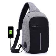 YOOHUI Crossbody Chest Rucksack One Strap Backpack Shoulder Bag Backpack  Earphones and Charge shoulder bag Grey